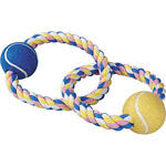 View Image 1 of Zanies Pastel Rope Toy with Two Tennis Balls