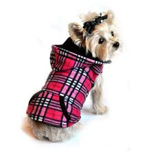 4 in 1 Fleece Dog Hoodie and Vest Combination - Pink Plaid
