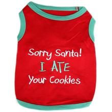 Sorry Santa Holiday Dog Tank by Parisian Pet - Red