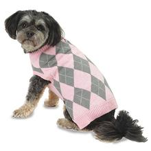 Alex's Argyle Dog Sweater - Pink/Gray