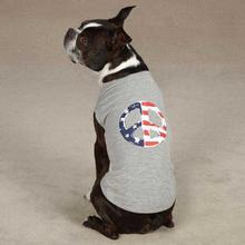 Americana Peace Flag Dog Tank - Gray