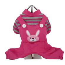 Animal Overalls Dog Pajamas - Pink Bunny