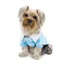 Aqua Blue Textured Polo Dog Shirt by Klippo