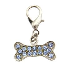 Basic Bone D-Ring Pet Collar Charm by FouFou Dog - Blue