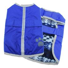 Be Good Reversible Nor'Easter Dog Jacket - True Blue/Snowflake