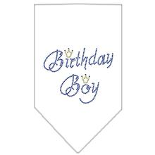 Birthday Boy Rhinestone Dog Bandana - White