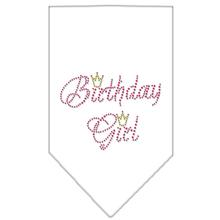 Birthday Girl Rhinestone Dog Bandana - White