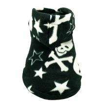 Black Skull Polar Fleece Dog Hoodie by Hip Doggie