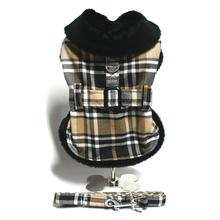 Black and Tan Fur Collar Dog Harness Coat