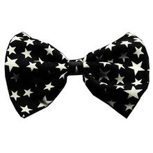 Black and White Stars Dog Bow Tie