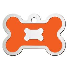 Bone Large Engravable Pet I.D. Tag - Chrome and Neon Orange