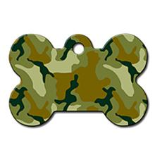 Bone Large Engravable Pet I.D. Tag - Green Camo