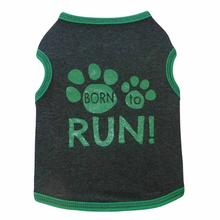 Born to Run Dog Tank - Charcoal and Green