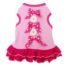 Bows and Buttons Dog Dress - Pink