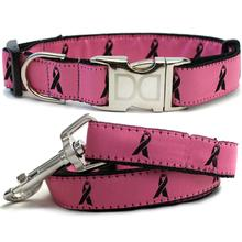 Cancer Awareness Dog Collar and Leash Set by Diva Dog - Pink