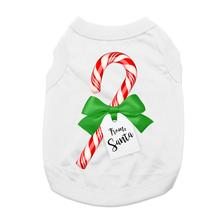 Candy Cane Gift Dog Shirt - White