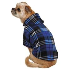 Everest Plaid Fleece Dog Hoodie - Blue