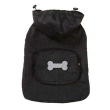Fleece-Lined Stowaway Dog Rain Jacket - Black