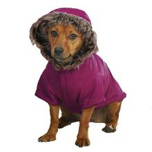 Casual Canine Fur Trim Dog Parka - Deep Raspberry