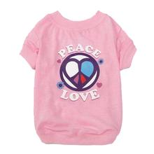 Peace and Love Dog T-Shirt - Pink