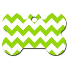 Chevron Bone Large Engraveable Pet I.D. Tag - Green