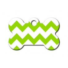 Chevron Bone Small Engraveable Pet I.D. Tag - Green