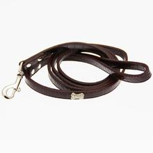 Crystal Bone Leather Dog Leash - Chocolate Brown