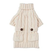 Chunky Turtleneck Dog Sweater - Cream