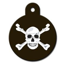Circle Large Engravable Pet I.D. Tag - Skull & Crossbones