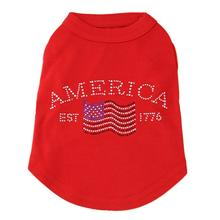 Classic American Rhinestone Dog Tank Top - Red
