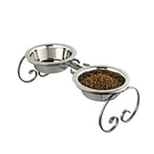 Classic Wrought Iron Dog Diner with Stainless Steel Bowls - Silver