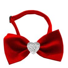 Clear Crystal Heart Chipper Dog Bow Tie
