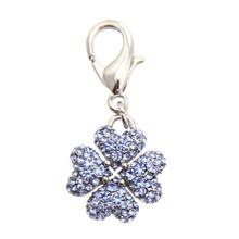 Clover D-Ring Pet Collar Charm by FouFou Dog - Blue