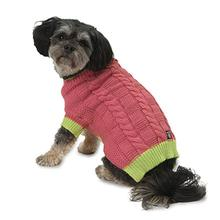 Cody's Chunky Cable Dog Sweater - Pink and Lime