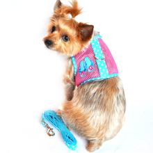 Cool Mesh Velcro Dog Harness - Flip Flop Pink and Ocean Blue