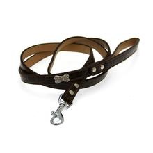Crystal Bone Leather Dog Leash - Dark Brown