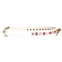 Deluxe Crystal Dog Collar - White w/ Pink Crystal