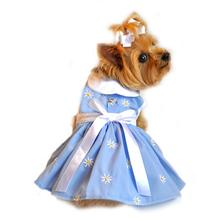 Denim and Daisy Dog Dress Set with Panties and Leash - Soft Blue