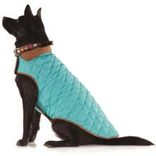 Diamond Quilted Dog Coat by Up Country - Aqua and Brown