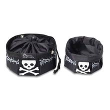 Doggles Black with Skull Travel Bowl