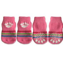 Doggy Socks - Pink with White Paw Print