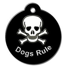 Dogs Rule QR Code Pet ID Tag by BarkCode - Black Skull