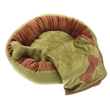 Donut 3-Piece Dog Bed Set - Green/Brown