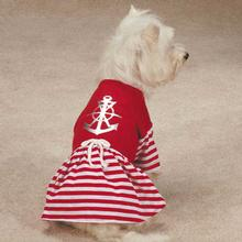 All Paws on Deck Anchor Dog Dress - Red
