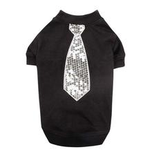East Side Collection Love Me Sequin Tie T-Shirt - Black