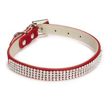 Velvet Rhinestone Dog Collar - Red