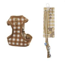 EasyGO Checkered Dog Harness by Dogo - Beige
