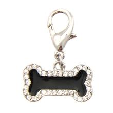 Enamel Bone D-Ring Pet Collar Charm by FouFou Dog - Black