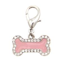 Enamel Bone D-Ring Pet Collar Charm by FouFou Dog - Pink