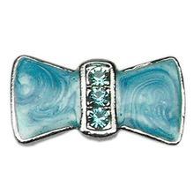 Enamel Bow Slider Dog Collar Charm - Turquoise